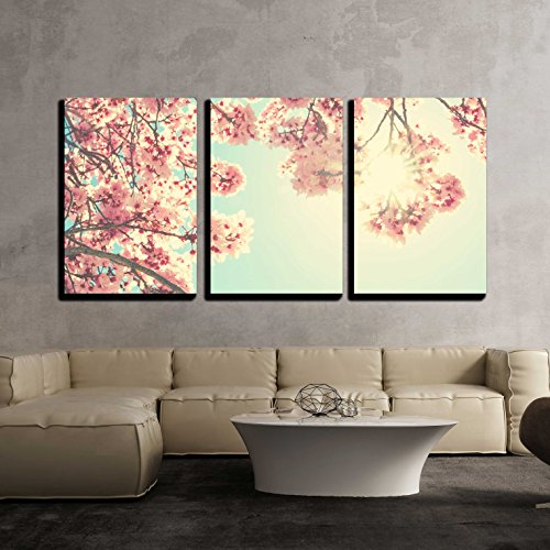 wall26 - 3 Piece Canvas Wall Art - Spring blossom - Modern Home Decor Stretched and Framed Ready to Hang - 24