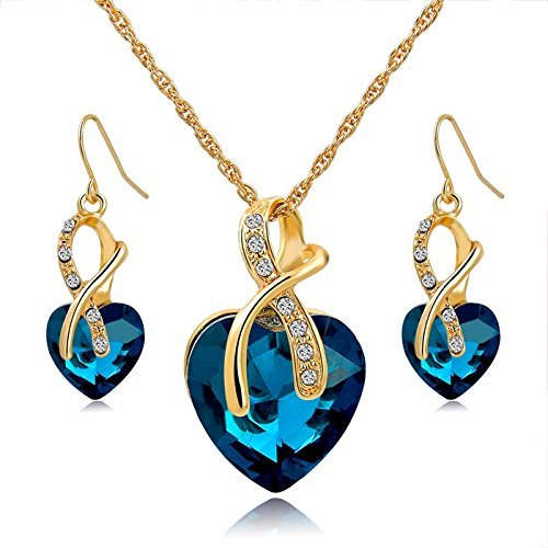 Long Way Austrian Crystal Fashion Heart Jewelry Sets Necklace Earrings Wedding (Set Of Jewelry)