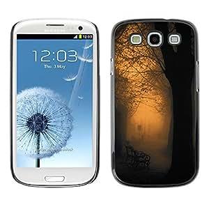 For SAMSUNG Galaxy S3 III / i9300 / i747 Case , Orange Glow Park Bench Romantic - Diseño Patrón Teléfono Caso Cubierta Case Bumper Duro Protección Case Cover Funda