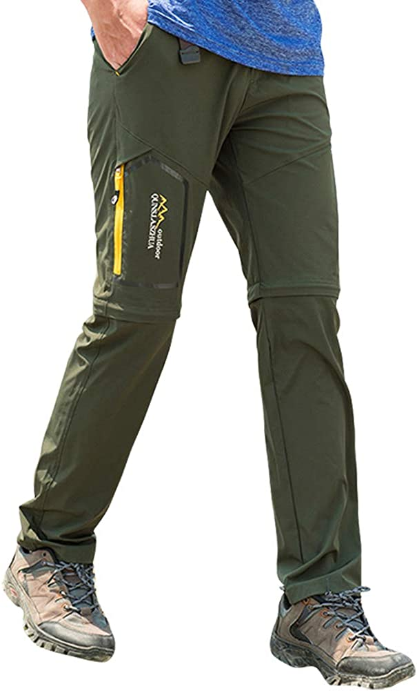 Womens Hiking Safari Pants Outdoor Zip Off to Shorts Lightweight Quick Dry Stretch Travel Pants Army Green, 34