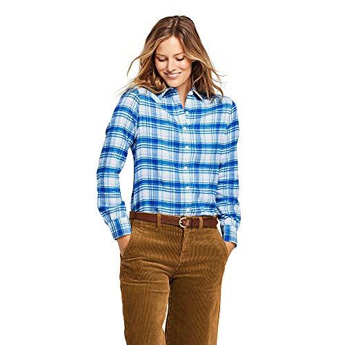Lands' End Women's Flannel Shirt, 16, Ivory/Capri Blue Plaid ()