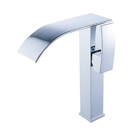 Beati Faucet Modern Widespread Waterfall Spout Bathroom Vessel Sink Tall  Faucet, Chrome