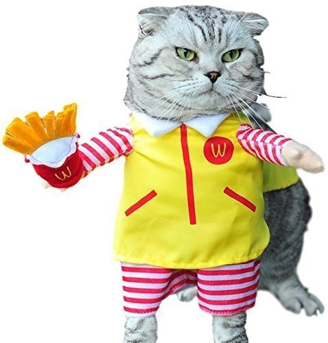 Pet Boy Girl Dog or Cat Fast Food Server with Fake Arms Halloween Carnival Dog Show Fancy Dress Costume Outfit Small-XL (Medium, Yellow Server)]()