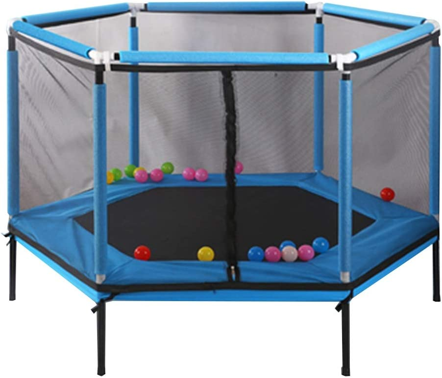 CHENHS 子供用トランポリン安全シールド安全で安定した屋内と屋外の使用子供のおもちゃ、6鋼管2色ベアリング100kg (Color : Blue, Size : 110x157cm)