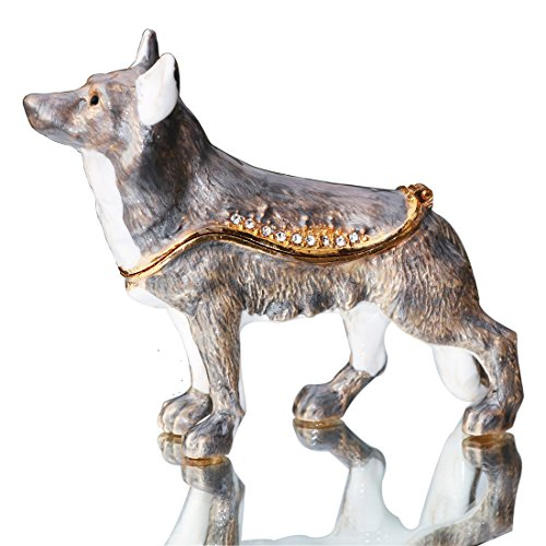 Waltz&F Gray Wolf Trinket Box Hinged Hand-Painted Figurine Collectible Ring Holder
