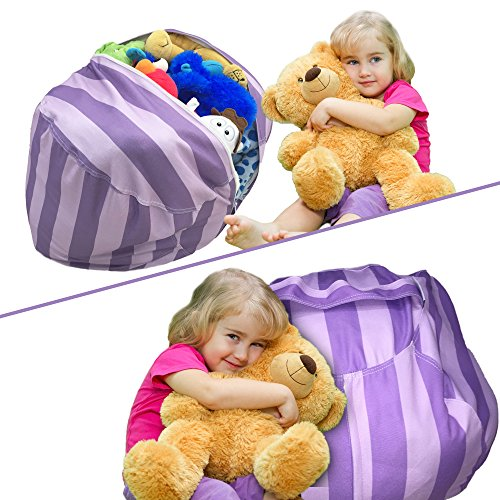 Shepherds Costume Diy (Stuffed Animal Storage Bean Bag Chair | Perfect Storage Solution For Extra Blankets / Pillows / Covers / Towels / Clothes | by Wonderfix (Purple))