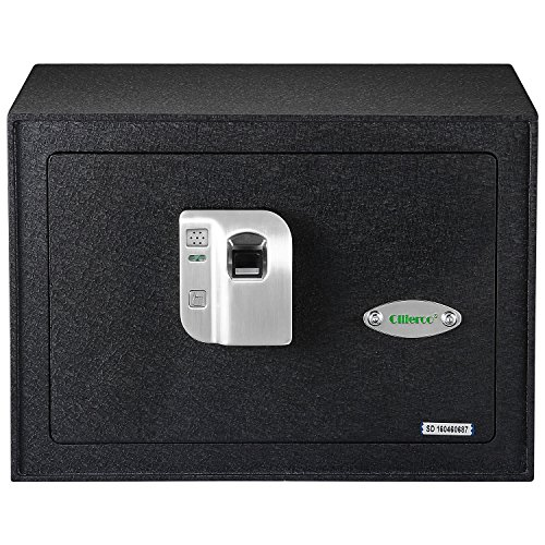 Ollieroo Security Safe Steel Electronic Biometric Fingerprint Safe Box With Fingerprint Sensor Manual Key Integrated LED Light For Home Gun Cash Jewelry or Valuable