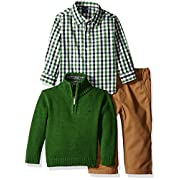 Nautica Baby Three Piece Set with Woven, Quarter Zip Sweater, Flat Front Twill Pants, Green, 0-3 Months