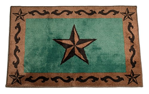 hiend accents western star print rug 24 by 36 inch turquoise - Western Bathroom Decor