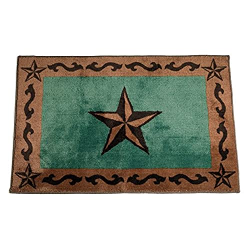 Exceptionnel HiEnd Accents Western Star Print Rug, 24 By 36 Inch, Turquoise