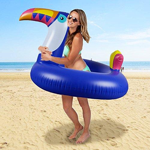 WISHTIME Toucan Bird Swim Pool Ring Lovely Toucan Bird Swimming Ring for Adult Summer Outdoor Inner Tube Beach - Tube Inner Suit
