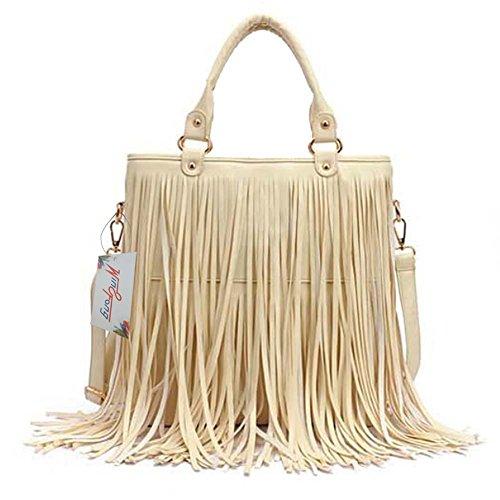 Bolso grande con estilo de borlas para damas, casual, bolso sintético de hombro con borlas de Win8Fong Beige