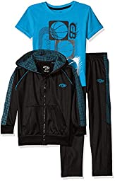 CB Sports Little Boys\' 3 Piece Tricot Athletic Jacket, Pant and T-Shirt, Neon Turquoise/Gray, 5