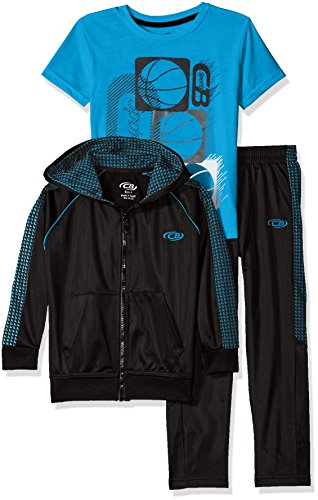 CB Sports Boys' Tricot Athletic Jacket and Pant with Graphic T-Shirt