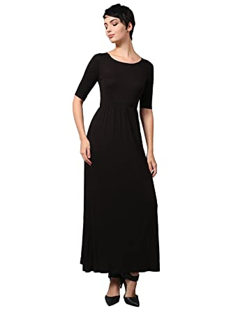 b27202ee146df NE PEOPLE Women'S Short Sleeve Scoop Neck Plain Maxi Dress at Amazon ...