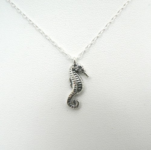 Sea Horse Sterling Silver Necklace Small Charm Ocean Nautical Jewelry Pendant (18 - Sea House Silver