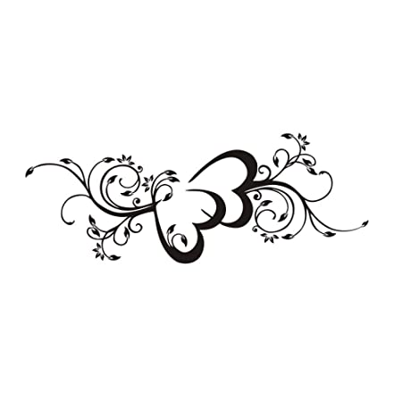 Dormitorio Etiqueta de La Pared Doble Corazón Flor Tatuajes de ...