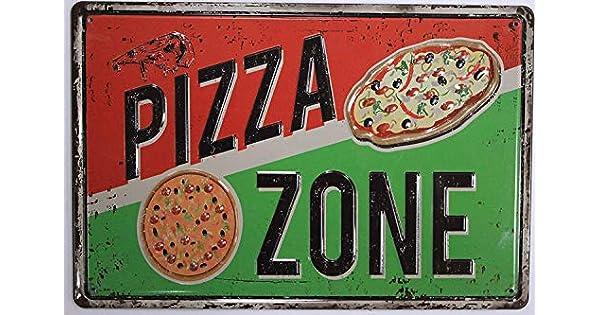 Amazon.com: ERLOOD Pizza Zone - Placa decorativa para pared ...