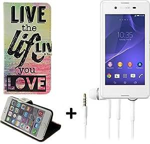 360° Funda Smartphone para Sony Xperia E3, 'live the life you love' + auriculares   Wallet case flip cover caja bolsa Caso Monedero BookStyle - K-S-Trade