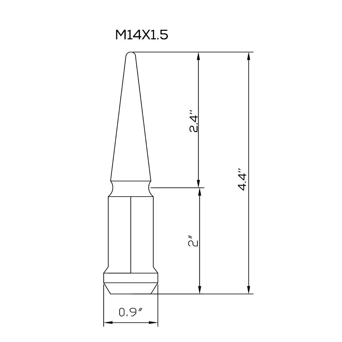 KSP 32 PCS Black Spike Lug Nuts 14x1.5 Spiked Metal Lug Nuts Solid 4.4 Tall Acorn Lug Nut with 1 Special Design Key for Aftermarket Wheels Goldenlion