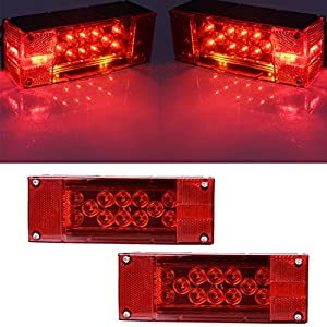 CZC AUTO 12V LED Low Profile Submersible Rectangular Trailer Light Kit Tail Stop Turn Running Lights for Boat Trailer Truck Marine