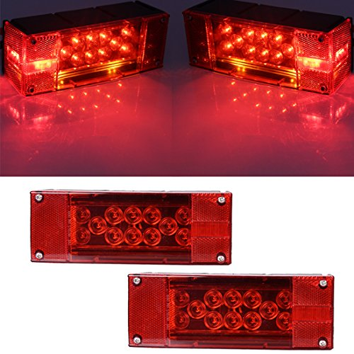 CZC-AUTO-Exclusive-12V-LED-Low-Profile-Submersible-Rectangular-Trailer-Light-Kit-Tail-Stop-Turn-Running-Lights-for-Boat-Trailer-Truck-with-Aluminum-Trailer-License-Plate-Bracket-Stainless-Hardware