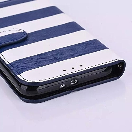 inShang Funda para Samsung Galaxy S6 con Elegante Corchete + Polsillo Construir-en + Grid Pattern with Pirate Ship Decoration PU cuero Carcasa Cajas Soporte Skin case cover smart cover Para S6, puede  stripe + hand strap navy blue