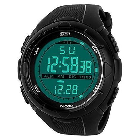 0d4b0ad52b23 Happy Cherry Deportivo LED Reloj Digital de Cuarzo con Correa de Gaucho  Esfera Grande Multifunción Alarma Cronómetro Calendario Waterproof Wrist  Watch Para ...