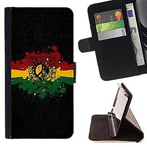 BullDog Case - FOR/LG OPTIMUS L90 / - / Rasta Reggae Peace Sign /- Monedero de cuero de la PU Llevar cubierta de la caja con el ID Credit Card Slots Flip funda de cuer