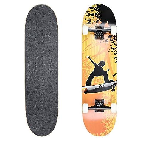 Vokul Skateboards High Bounce Complete Cruiser Longboard Skateboard (White) - Madrid Cruiser Skateboard
