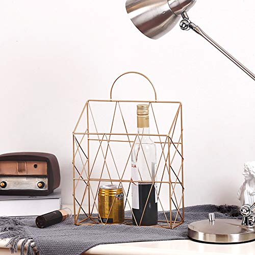 AIYoo File Holder Metal Organizer,Gold Wire Wall Bin Magazine Rack Holder,Storage Basket for Magazine,Books, Newspapers - Modern Office Home Supplies and Decorations. by AIYoo (Image #2)