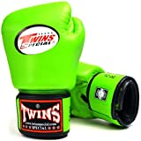 TWINS SPECIAL BOXING GLOVES GREEN COLOR PREMIUM LEATHER W/ VELCRO