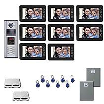 Apartment Video Intercom 8 seven inch color monitor door entry kit