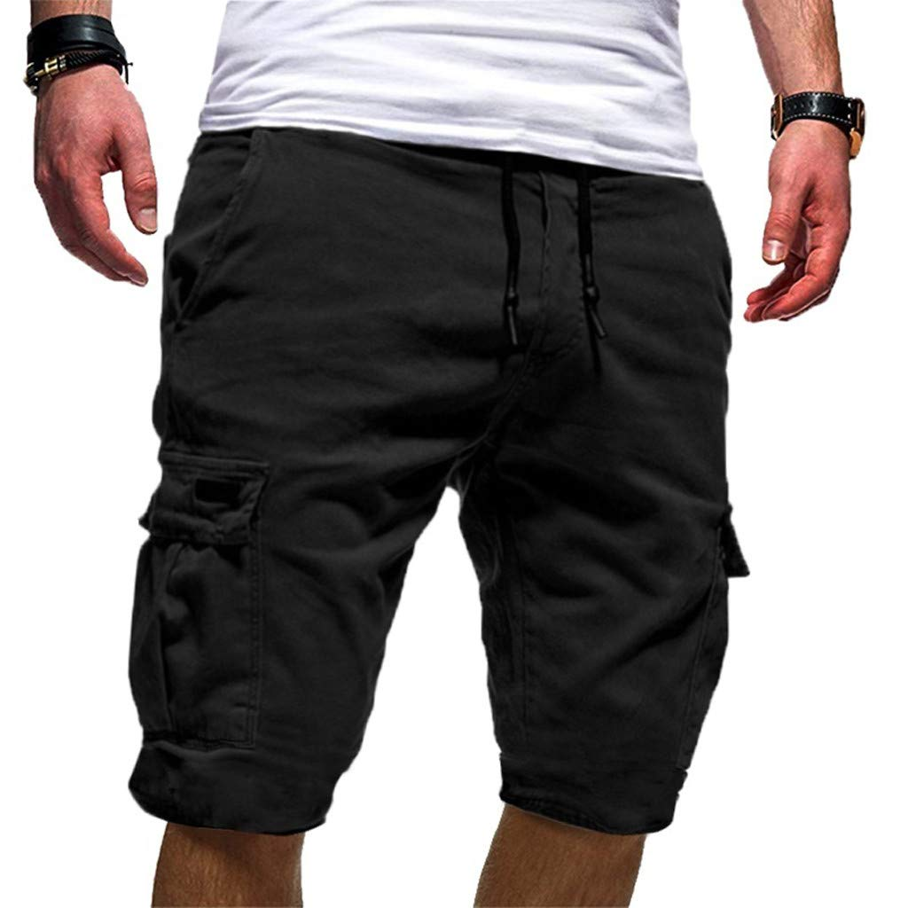 Men's Cotton Casual Shorts 3/4 Jogger Capri Pants Breathable Below Knee Short Pants with Pockets Black