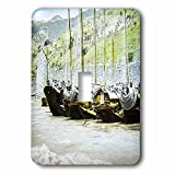 Scenes from the Past Magic Lantern - Vintage Japanese Cormorant Fishing Boats Docked Japan Magic Lantern - Light Switch Covers - single toggle switch (lsp_246112_1)