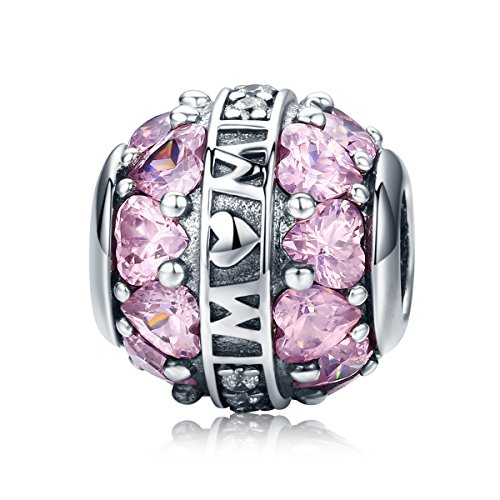 Everbling Mother's Day I Love Mom Mother Family 925 Sterling Silver Bead Fits Pandora Charm Bracelet (Mom Love in Heart Pink CZ)