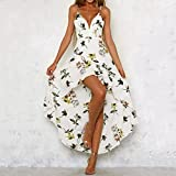 Nevera Womens Holiday Plunge Ladies Maxi Long Summer Floral Print Beach Dress (L, White)