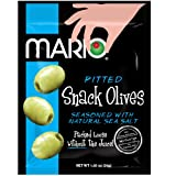 Mario Camacho Foods Pitted Snack Olives, Natural Sea Salt Green, 1.05 Ounce (Pack of 12)