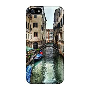LastMemory Case Cover Protector Specially Made For Iphone 5/5s Restaurant In A Side Canal In Venice Hdr