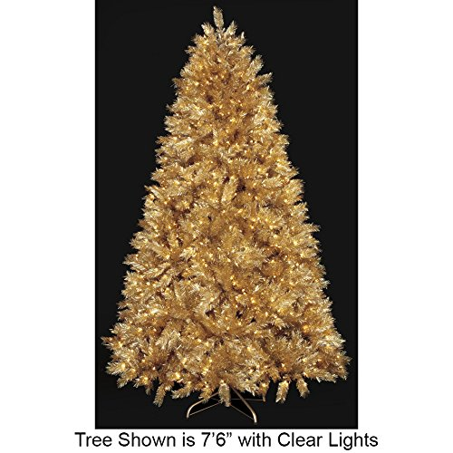 SilksAreForever 9'Hx68 W Gold Tinsel Laser Lighted Artificial Christmas Tree w/Stand -Gold
