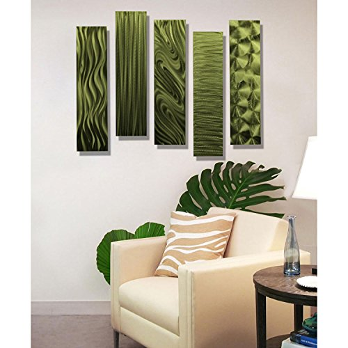 Green Metal Wall Art Decor, 5 Piece Set of Modern Wall Art by Jon Allen