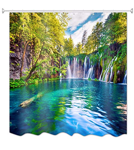 A.Monamour Sunlight Through Green Forest Tress Waterfall Mountain Blue Lake Water National Park Nature Scenery Print Waterproof Polyester Fabric Shower Curtain180X200 cm / 72