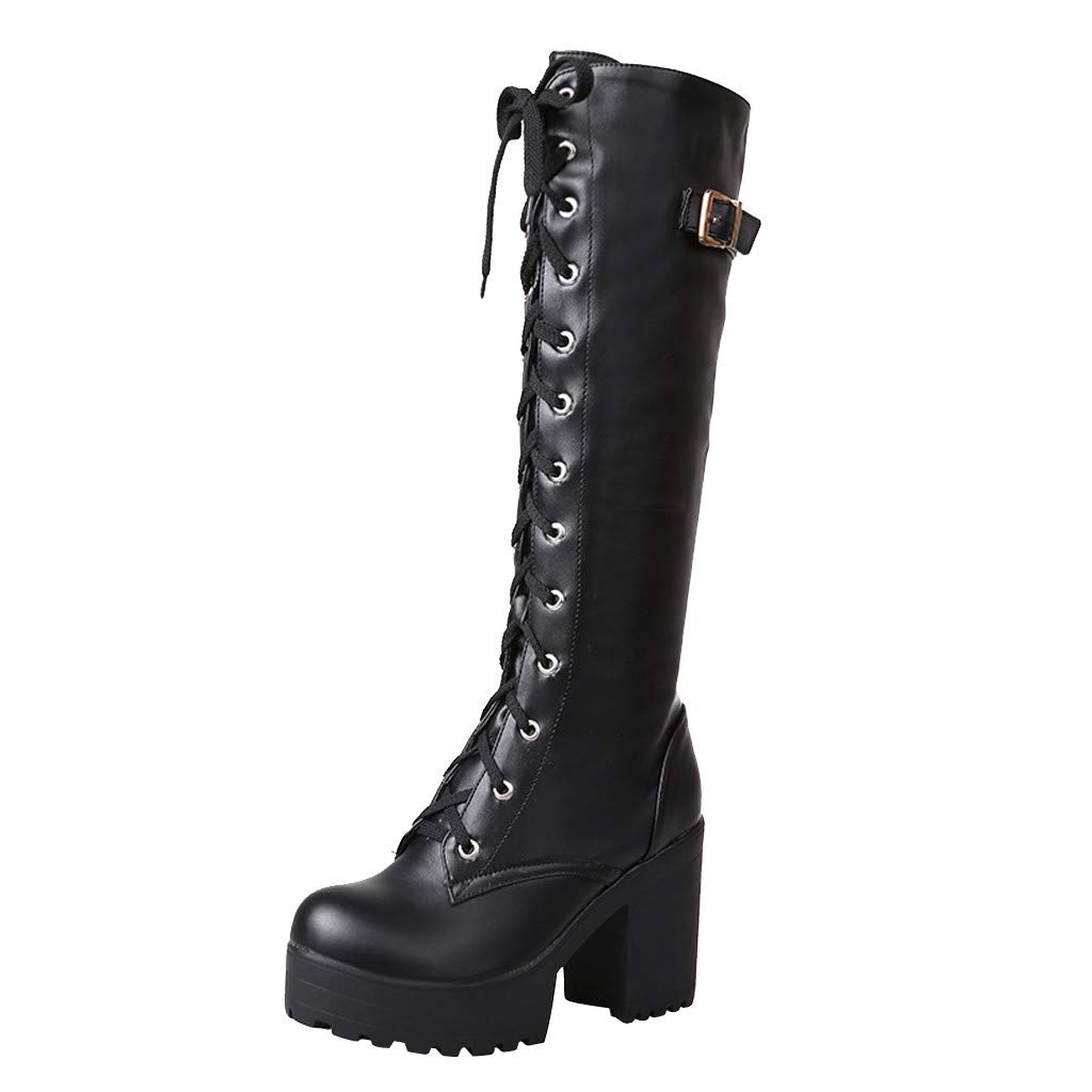 Kinrui Women Shoes Womens Winter Knee High Boots Lace Up Strappy Thick Platform Motorcycle Square Heel Riding Booties (US:8.0, Black)