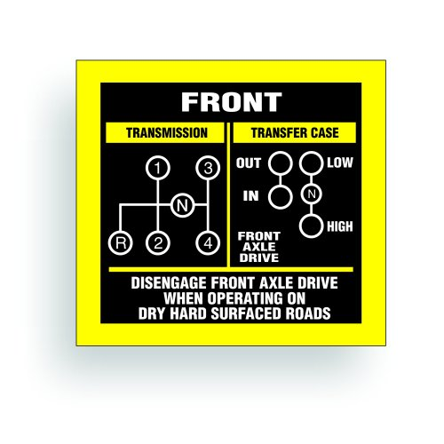 Transmission Shift Pattern Decal - Jeep, Willys Or CJ May Fit Transmission And Transfer Case Models SM420, 4 Speed, Twin Stick - 3x2.75 inch