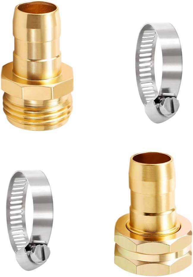 ULTECHNOVO 3/4-5/8 Garden Hose Mender End Repair Male Female Hose Connector with Stainless Clamp Brass Garden Hose Repair Kit