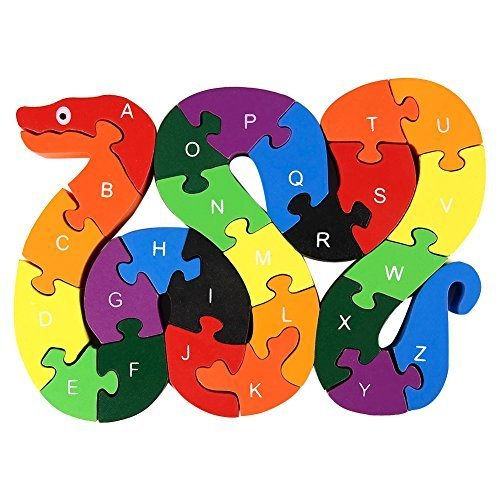 GoaPly Creative Wooden Snake Letters and Numbers Jigsaw Puzzle Game, Assembled Size 5.1x7.5x0.6 inches, Kids Preschool Intelligence Block Puzzle Play and Learning Toy Birthday Gift Idea (Game Memory Preschool Number)