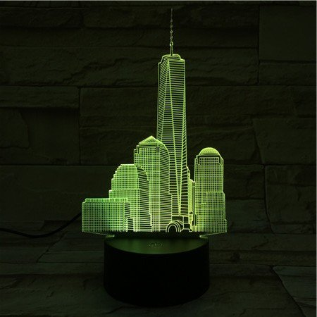 3D Night Light Led Lamp World Trade Center Room Decoration Kid Baby Sleeping Gift USB Table Lamp Bedside ()