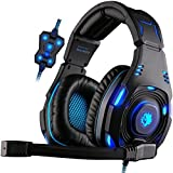 Image of GW SADES SA907 Virtual 7.1 channel USB Wired Surround Sound Over Ear Stereo Gaming Headset Headband Headphones with Hifi Mic Multi-function Control Cool Blue LED Lighting with Two Modes(Black)