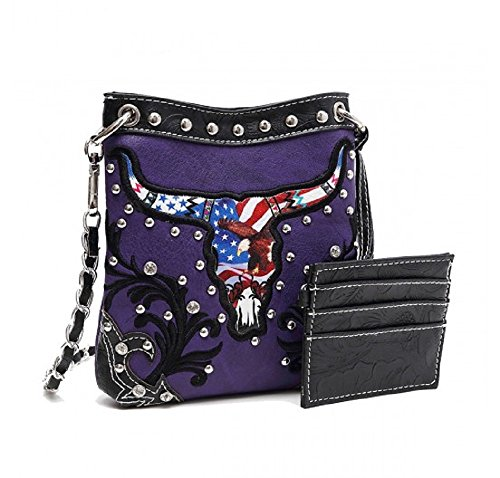 Petite Longhorn Back Purple Long Chain and Messenger Crossbody Strap with Pocket Purse Western wfxSHq5OHC