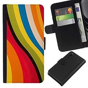 iBinBang / Flip Funda de Cuero Case Cover - Pink Yellow Abstract Pastel Colors - Sony Xperia Z3 D6603 / D6633 / D6643 / D6653 / D6616
